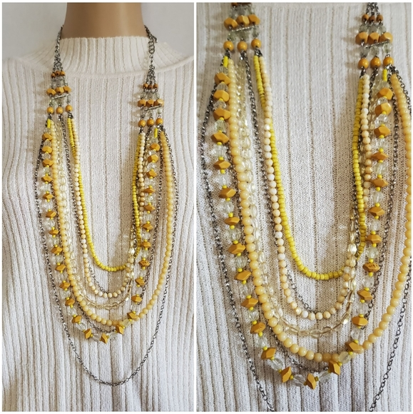 Jewelry - Vintage Glass Beaded Multi Layered Necklace